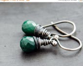 ON SALE, Emerald Earrings, Drop Earrings, Dangle Earrings, Wire Wrapped, Sterling Silver, May Birthstone, Emerald Green, Birthstone Jewelry,