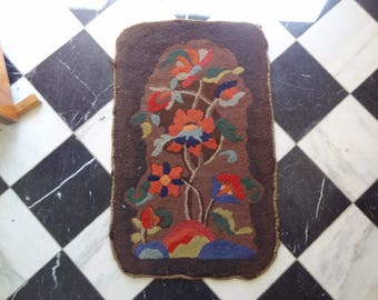 Antique Hooked Rug. Wool. Burlap. Vertical. Colorful