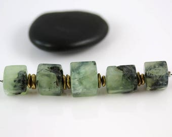 Green Tourmalinated Quartz - Hexagon Tubes - Tourmalinated Quartz - Set of 5