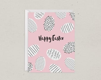 Easter Egg Jumble | Happy Easter Card | Greeting Card | Pink and Black