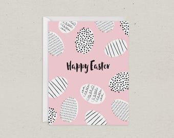 50% OFF | Easter Egg Jumble | Happy Easter Card | Greeting Card | Pink and Black