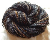 Ironwood Shadows handspun yarn with silk and locks, 110 yards of worsted weight
