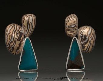 Mokumé Gane Gem Silica Earrings