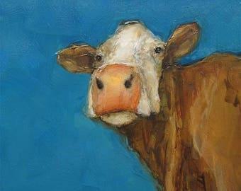 SKY HIGH COW Farm Art Colette W. Davis 4x4 Art Giclee print