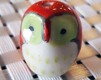 4 Red & Green Owl Beads, Animal Beads, Ceramic, Bird Beads