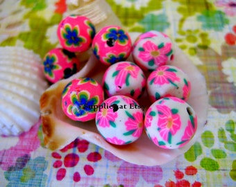 Sale  Assorted bubble gum hot pink Green yellow floral Polymer Clay Beads Round  beads 10mm-Fancy handmade Floral beads- Floral  Pink colors