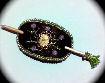 OOAK In the Garden  with Vintage Brooch and beaded hair stick  Everyday Wear Hand Woven Beaded Boho Ethnic Cottage Chic victorian regency