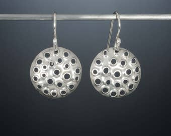 Solid silver, hand made dangle earrings/ Unique, tiny, round, perforated sterling silver/ Modern bride/ Slow fashion/ Fine jewelry/ EPRSH-18