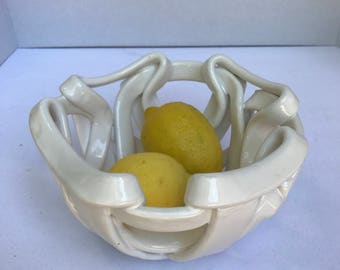 Contempo l Open work pottery bowl with holes fruit bowl bread warmer home decor