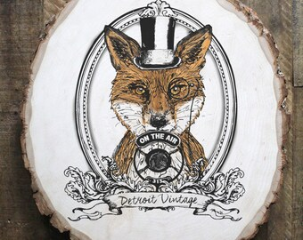 Detroit Vintage Fox illustration on reclaimed wood
