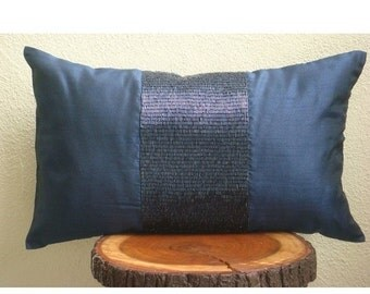 15% HOLIDAY SALE Decorative Oblong / Lumbar Rectangle Throw Pillow Covers Accent Pillow Couch Bed Toss 12x16 Navy Silk Pillows Pipe Embroide