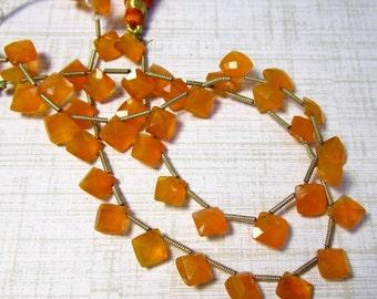 Rose Cut Natural Carnelian Briolette Beads, 8mm Cushion Square Fiery Brazilian Orange Gemstone , 9 inches