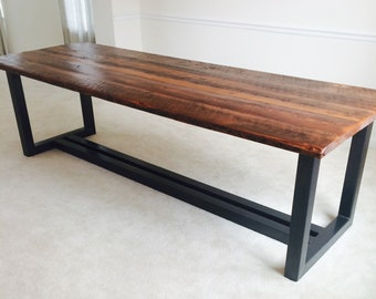 Free Shipping! The Ironworker - Contemporary Design Reclaimed Wood and Iron Dining Table