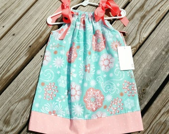 Girls Spring Dress - Pillowcase Dress - Aqua and Coral Dress -  Toddler Girl Dress  - Beach Dress -  Sundress - Groovy Gurlz