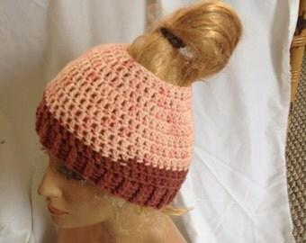 SALE - Cherry Chip Top knot/Messy Bun Hat