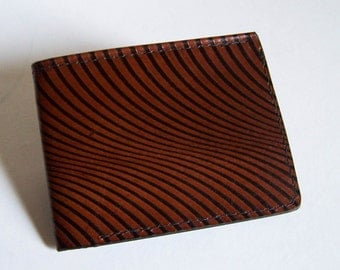 "Leather Wallet - Thin Bi-fold with Swirl Design - Men's Leather Wallet - ""A"" Style Interior"