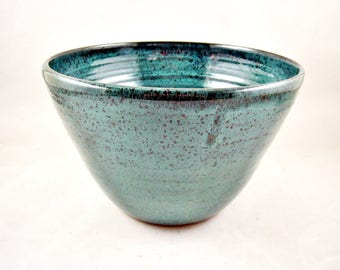 Ceramic garden planter, Teal blue stoneware flower pot, garden pot, indoor garden pot, outdoor garden pot - In stock