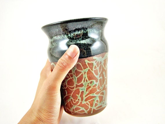 Pottery beer pint, Handmade stoneware beer mug, 16 oz pint glass, father's day gift - in stock