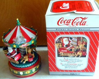 "Sale - Rare Enesco Coke Memorabilia - Vintage Coca Cola Carousel Music Box -Santa, Elf, Reindeer Large 9"" Christmas Ornament"
