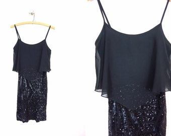 1990s Deb Black Sequined Cocktail Dress S