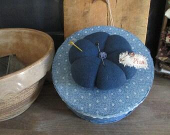 Primitive Paper Mache Pin Cushion Vintage Indigo Blue Fabric Covered Box Calico