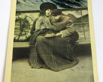 VINTAGE Rocked in the Cradle Of The Deep Ship Storm- POSTCARD-Lithograph-FREE Shipping