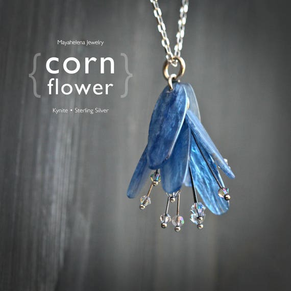 Cornflower - Kynite Sterling Silver and AB Crystal Modern Dangle Necklace