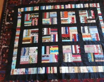 STRIPPY QUILT TOP To Complete Colorful Fabric Strips and Black  52 x 42 inches  to complete into a small quilt