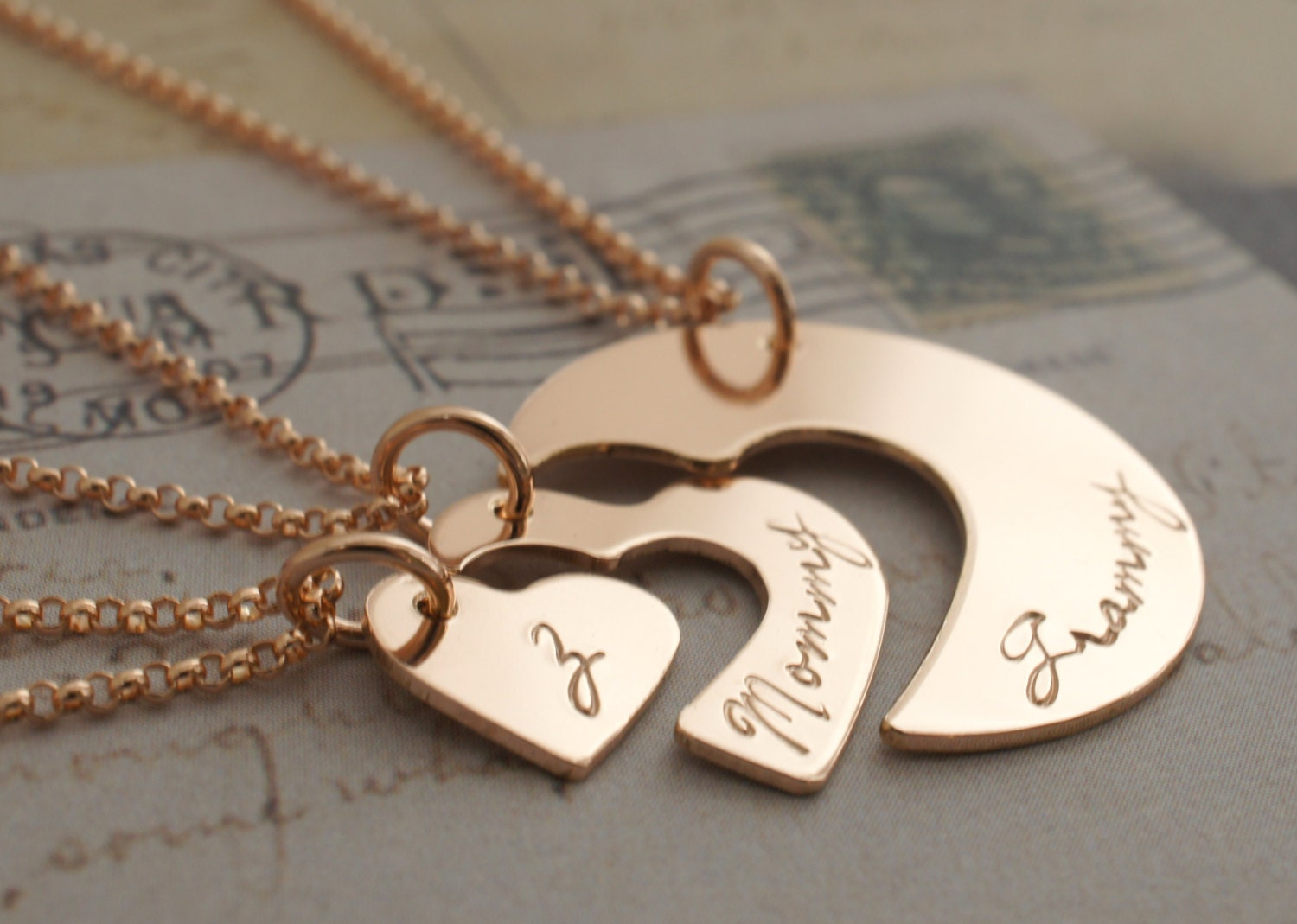 Rose Gold Filled Three Generation Necklace Set By Eclectic