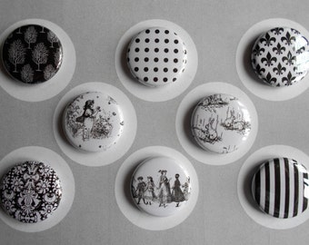 Black and White Flair Buttons-YOU CHOOSE STYLE
