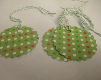 8 Christmas Polka Dot Themed Gift Hang Tags