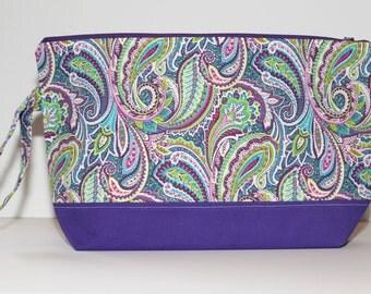 Purple Medley Knitting Bag, Knitting Pouch, Zippered