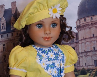 Field of Sunshine - dress, jacket & beret for American Girl doll