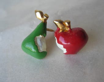 Pear Apple Tie Tack Lapel Pins Brooch Green Red Gold Vintage Bite Fruit