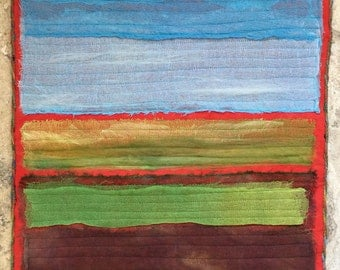 Ode to Rothko Abstract Landscape Fiber Art Quilt Wall Hanging