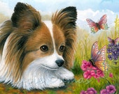 Greeting Card Note Cards 5x7 Dog 123 Papillon Butterfly art print from original by L.Dumas
