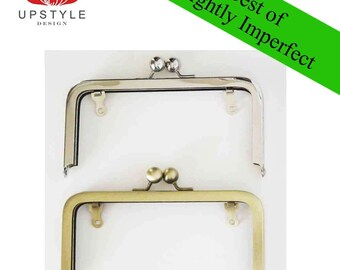 "SAVE 50% - Slightly Imperfect Clutch Purse Frames - Set of 5  Frames 6"" x 3"" Antique Brass and Nickel (silver)"