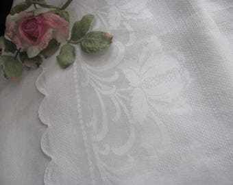 Larger Damask and Huck White Towel with Roses ,Scalloped