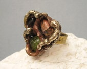 Brutalist Artisan Cantera Opal Ring Mixed Metals Jewelry R7248
