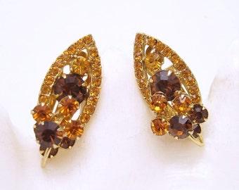 Topaz Rhinestone Earrings Vintage Jewelry E6655