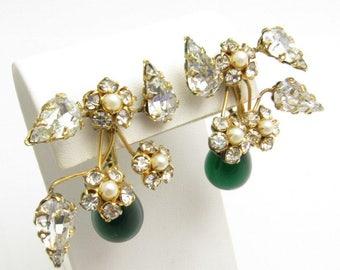 Vintage Rhinestone Earrings Green Glass Drop Schreiner Jewelry E7673
