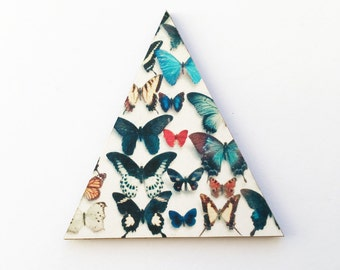 Modern Butterfly Pin Back Brooch, Geometric Triangle Jewellery