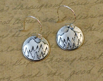 """Sterling silver, 5/8"""" disk, earrings, mountains, trees, handsawed, soldered, handstamped, texture, nature, outdoors, camping, hiking"""