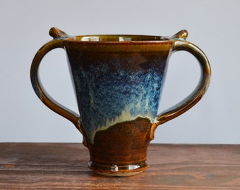 2 handled Mug coffee ceramic, glazed in brown and blue, tea cup stoneware, handmade by hughes pottery
