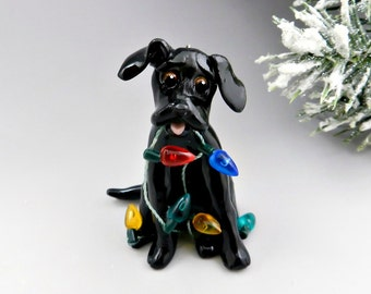 Labrador Retriever Black Christmas Ornament Lights Porcelain