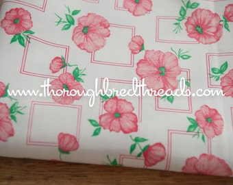 Fun Pink Floral- Vintage Fabric Juvenile Novelty Geometric 31 inches wide