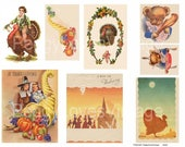 Thanksgiving  1 Digital Collage from Vintage Greeting Cards -  Instant Download - Cut Outs