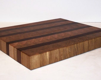 OOAK END GRAIN Cutting Board, Chopping Board, Butcher Block, Carving Board, Bread Board Handcrafted from Maple and Walnut Hardwood