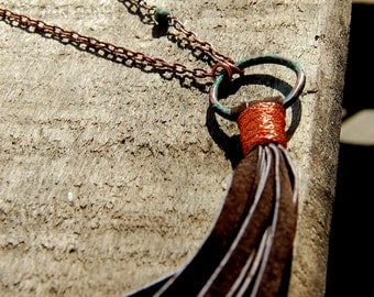 Rustic Leather Tassel Necklace
