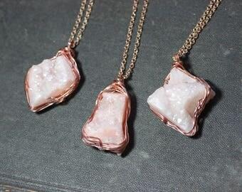 Pink Druzy Necklace Rough Druzy Quartz Nugget Pendant Luxe Rustic Copper Jewelry